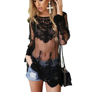 Hollow Out White Mesh Lace Women Dress Summer Style Long Sleeve O Neck Sexy Dresses Elegant Evening Party Beach Vestidos Holiday