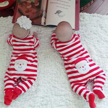 Winter Christmas Baby Romper One Piece Long Sleeve Infant Striped Romper Santa Embroidered Newborn Jumpsuit Boys Girls Clothes