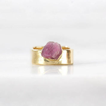 pink tourmaline ring | tourmaline crystal ring | raw stone ring | mineral ring | october birthstone ring | october birthstone jewelry