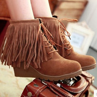 Women new fashion spring autumn tassel boots lacing 8cm wedges round toe high heels scrub shoes