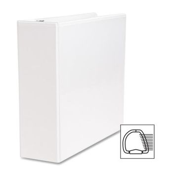 "Business Source D-Ring Binder, w/ Pockets, 3"" Capacity, White"