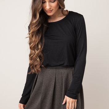 A Silent Night Charcoal Skirt