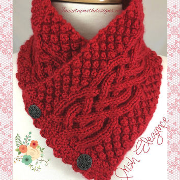 Neckwarmer Irish Celtic Knot Trinity You choose Handknit Caron Simply
