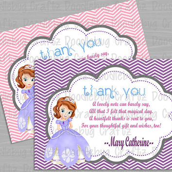 PRINTED - Sofia the First - Disney Junior - Princess - Personalized Custom Thank You Card - Birthday Party. Choose size - 5x7 or 4x6