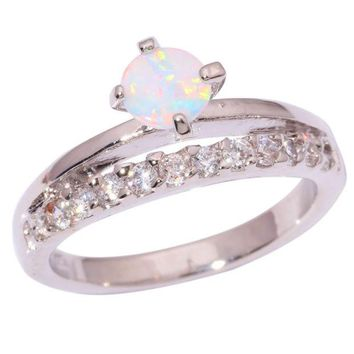 DCCKLG2 White Fire Opal Split Band Sterling Silver Ring