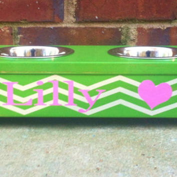 Pet bowl with chevron and Heart  Personalized dog bowl holder Stand  Shabby Style