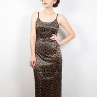 Vintage 90s Dress Brown Black Leopard Print Maxi Dress 1990s Dress Velvet Dress Bodycon Bandage Dress Soft Grunge Dress Club Kid XS S Small