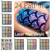 NEW GOODS 1 Sheet/9 Tips Hollow Nail Vinyls Irregular Image Nail Art Manicure Stencil Sticker
