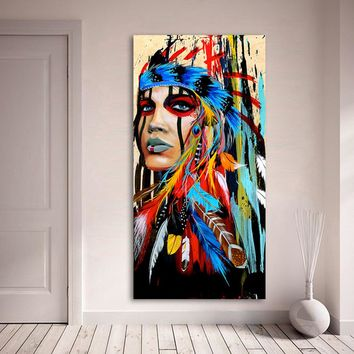 xdr30 India Tatoo girl Graffiti Street Wall Art Abstract Modern African Women Portrait Canvas Oil Painting For Living room