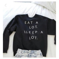 Eat A Lot Sleep A Lot new winter Black Women Hoodies Sweatshirts Hoody Warm Tracksuits Spring Autumn Hoodies Pullover