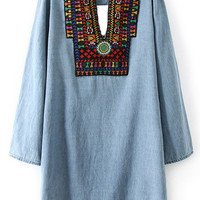 Blue Embroidered Long Sleeve Dress