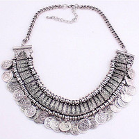 Silver Coins Tribal Accent Collar Necklace