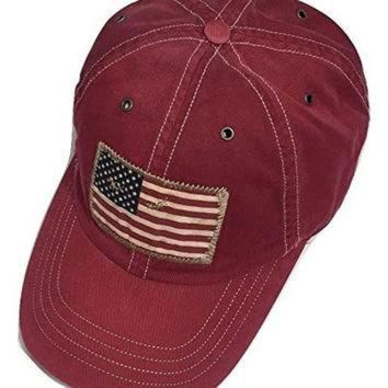 ONETOW Polo Ralph Lauren Hat Cap Usa Flag Patch Pony Coton Adjustable (RED)