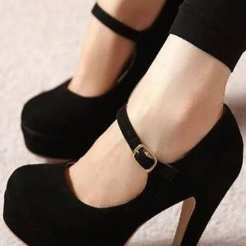 Fashion solid color round head high heels