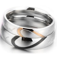 Heart Shape Matching Titanium Promise Ring for Couple 316L Stainless Steel Wedding Bands Rings = 1929970564