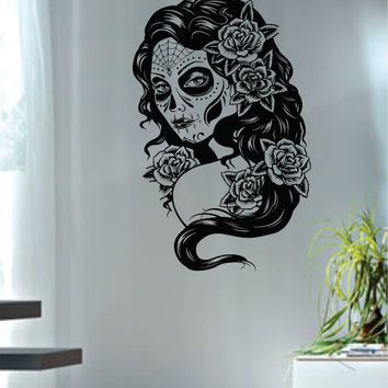 Day of the Dead Girl Version 3 Decal Sticker Wall Vinyl Art Day of the Dead