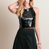 Midnight Madness Sequin Crop Top