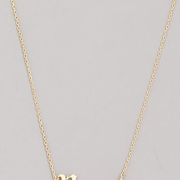 Old English Pisces Necklace in Gold