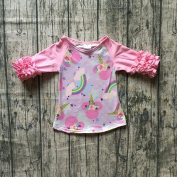fall/winter baby girls cotton icing half sleeve pink mouse unicorn rainbow top t-shirt raglans floral children clothes kidswear