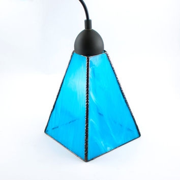 Stained Glass Pendant Light, Sky Blue, Ceiling Light Fixture, Stain Glass Shade, Kitchen Lighting, Hanging Lamp, Modern Design