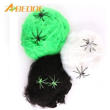 ABEDOE Halloween Scary Party Scene Props White Stretchy Cobweb Spider Web Horror Halloween Decoration For Bar Haunted House