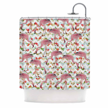 "Suzanne Carter ""Flamingo Chevron & Roses"" Pink Digital Shower Curtain"