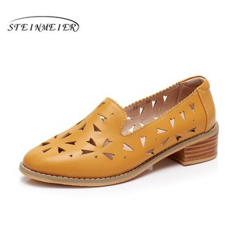 Genuine leather designer vintage shoes Sandals handmade blue red yellow oxford shoes for women 2018 spring big US size 11