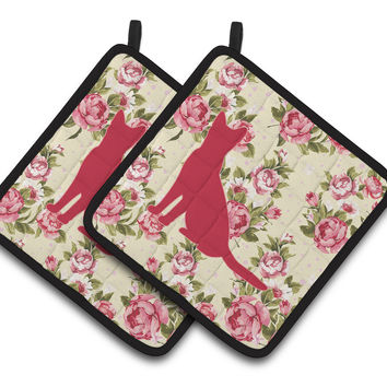Cat Shabby Chic Yellow Roses  Pair of Pot Holders BB1071-RS-YW-PTHD