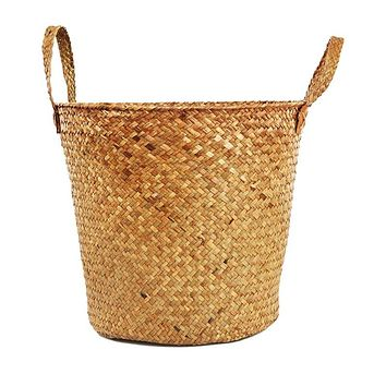 Handmade Straw Woven Laundry Basket Dirty Clothes Storage Basket Straw Storage Bucket