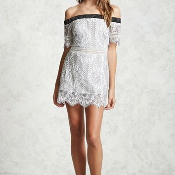 Contrast Embroidered Lace Dress