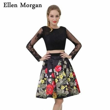 Long Sleeve 2 Piece Prom Dresses 2018 for African Black Girls Sexy Backless Knee Length Lace Pattern Short Party Homecoming Gown