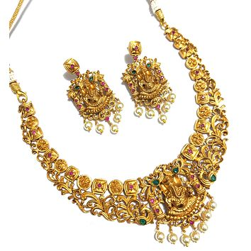 Traditional Lord Ganesha Matte gold Choker necklace and Earring set