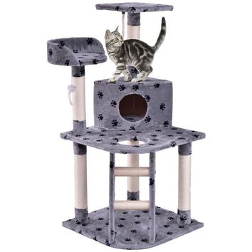 "48"" Cat Tree Play House Tower Condo Scratching Post w Rope and Ladder"