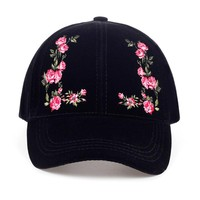 VORON  solid color flower embroidery female baseball cap cotton hat fashion women's cap adjustable adult hip-hop cap warm hat