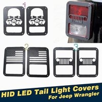 2pcs Matt Black HID LED Tail Light Covers Lamp Guards For Jeep Wrangler 07-15