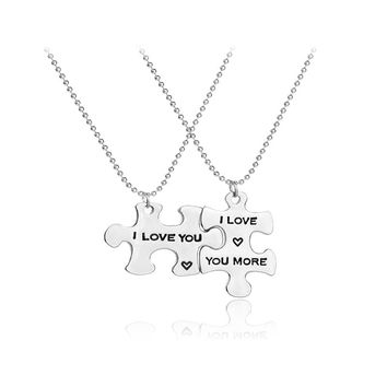 i love you necklaces for lovers Interlocking Jigsaw Puzzle i love you more Necklace For 2 Stitching Necklaces for couple wife