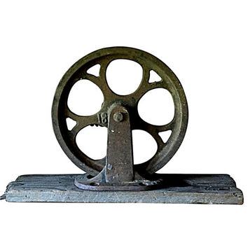 Industrial Wheel Pulley Mounted on Wood, Vintage Rustic Home Decor