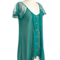 Emerald Fashioned Top | Mod Retro Vintage Short Sleeve Shirts | ModCloth.com