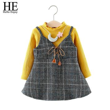 baby clothing baby girl clothes winter fashion baby girl set long sleeve warm shirt strap dress two-piece suit infant girl dress
