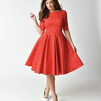 The Pretty Dress Company Red & White Dot Sleeved Hepburn Swing Dress