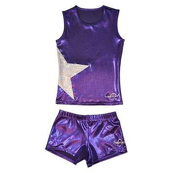 O3CHSET013 - Obersee Cheer Dance Tank and Shorts Set - Purple Star