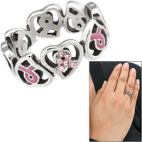 Pink Ribbon Hearts Stainless Steel Ring