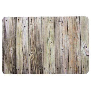 Rustic Weathered Wood Boards with Natural Grain Floor Mat