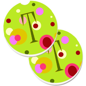 Letter T Monogram - Lime Green Set of 2 Cup Holder Car Coasters CJ1010-TCARC