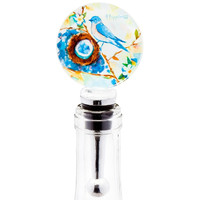 Bluebird Happiness Blown Glass Wine Bottle Stopper