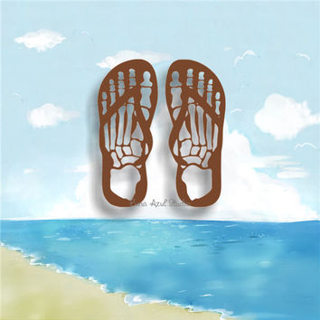 SKELETON FLIP FLOPS /21/ vinyl decals * tumbler decals * tropical decals * hibiscus flowers decals * tropical flower decals * flipflops