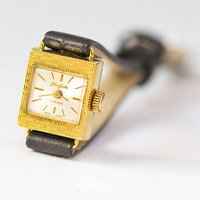 Cocktail women's watch Glashutte, gold plated lady wristwatch square small, classic lady watch, wife gift watch, new premium leather strap