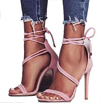Women's Summer Open Toe Stiletto heel Black / Pink Sandal