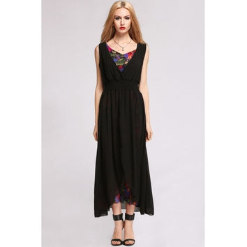 New Lady's V-Neck Cocktail Evening Party Beach Long Waist Dress Bohemian Style