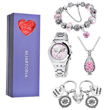 Pink Wristwatch Mother Daughter Oil diffuser Necklace Bracelet Key Chain Jewelry Set